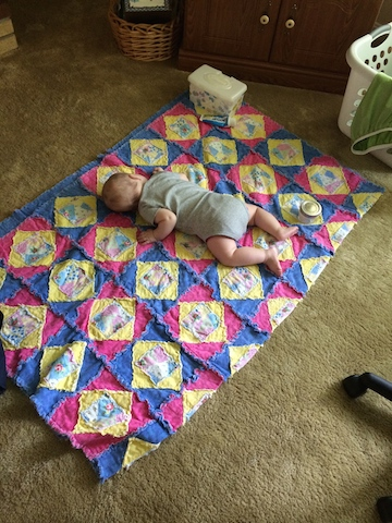 sleeping on a quilt