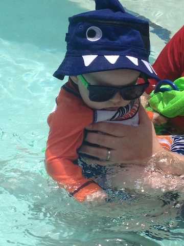 shark hat in the pool