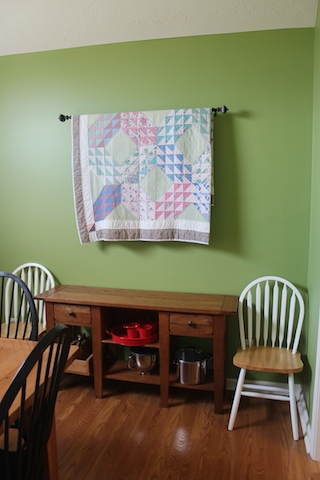 quilt in dining room