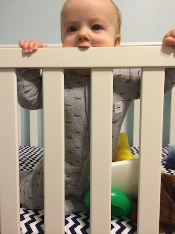 chewing on the crib