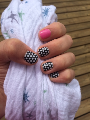 Jamberry black and white polka and bubblegum