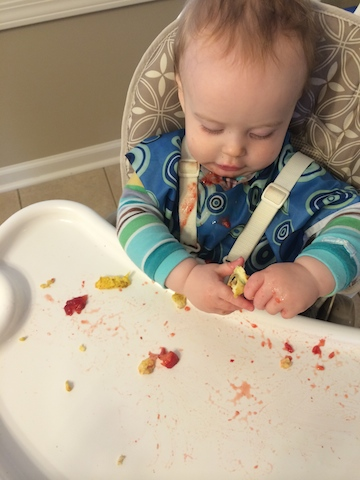baby led weaning scrambled eggs and strawberries