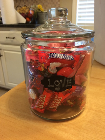 Valentine candy guessing game prize