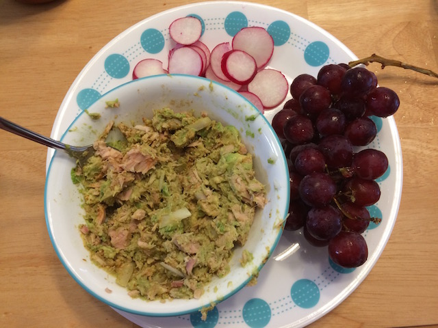#whole30 avocado tuna, radishes, grapes