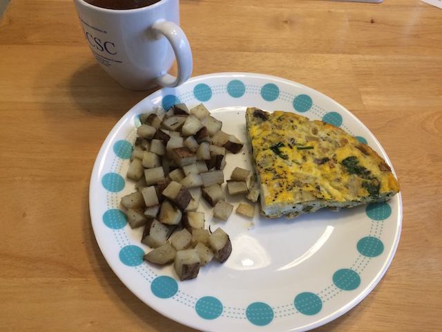 #whole30 breakfast spinach mushroom asparagus fritatta with roasted potatoes and bone broth