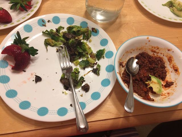 #whole30 dinner the bomb chili, brussel sprouts, strawberries