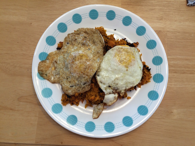 #whole30 fried eggs and sweet potato hash