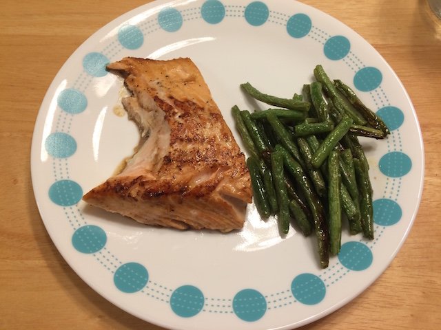 #whole30 salmon and roasted green beans