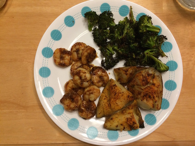 #whole30 spicy cinnamon orange shrimp, crash potatoes, and broccoli