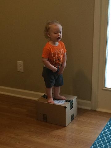 climbing on a box