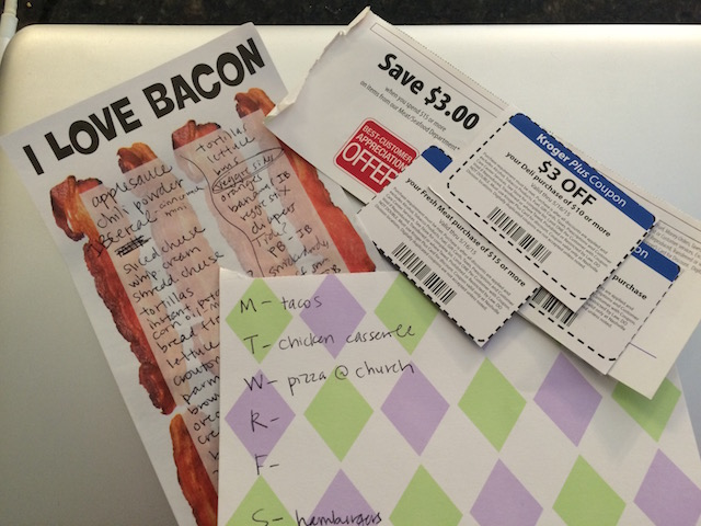 grocery list and coupons