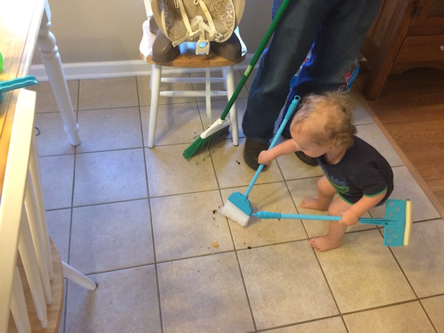 sweeping up after meals