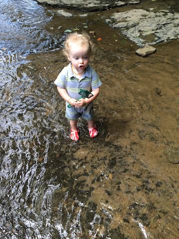 playing in the creek at church camp