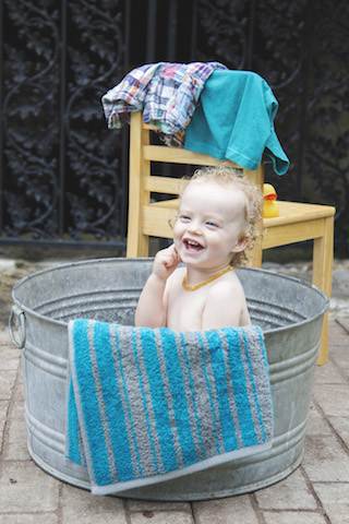18 month pictures in a bucket