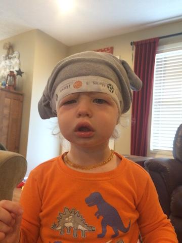 underwear on his head
