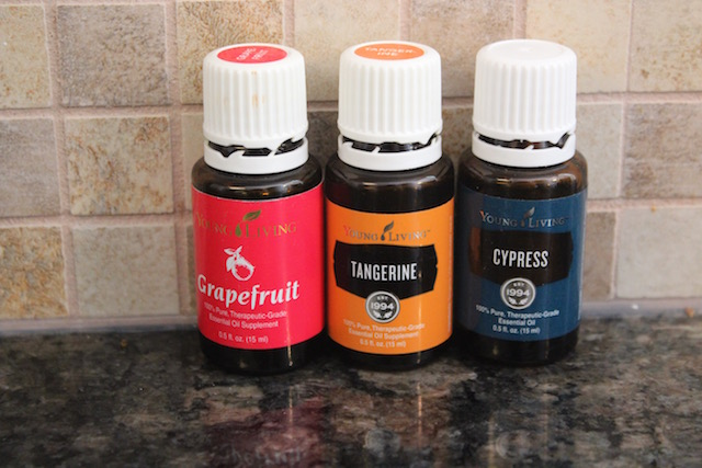 grapefruit, Young Living tangerine, and cypress essential oils