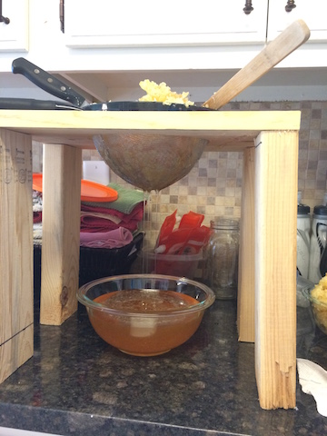 honey harvest - strainer stand 5