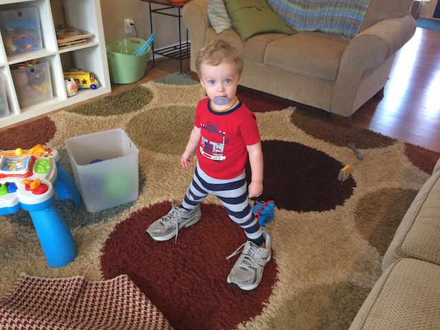 wearing Daddy's shoes