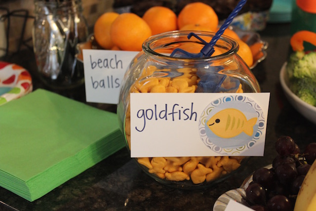 goldfish crackers in a fish bowl