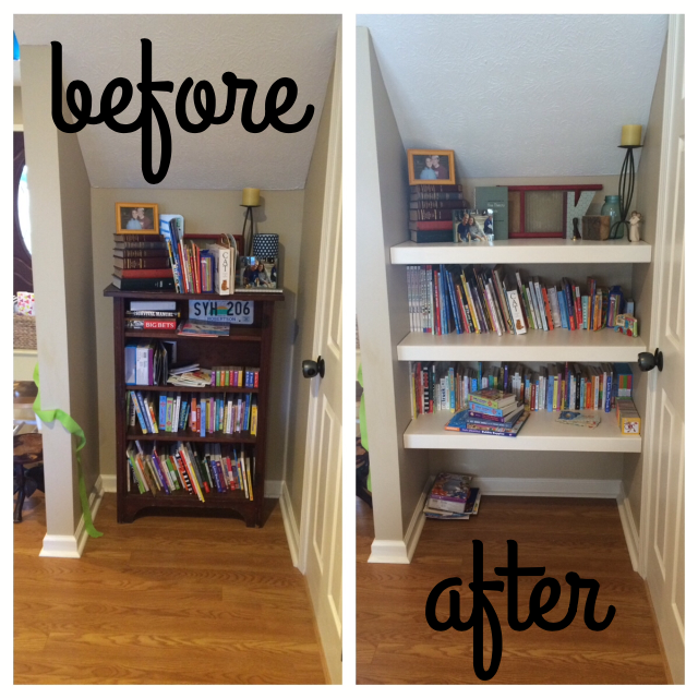 DIY built in bookshelf before and after