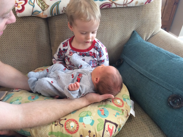 Hudson holding Parker