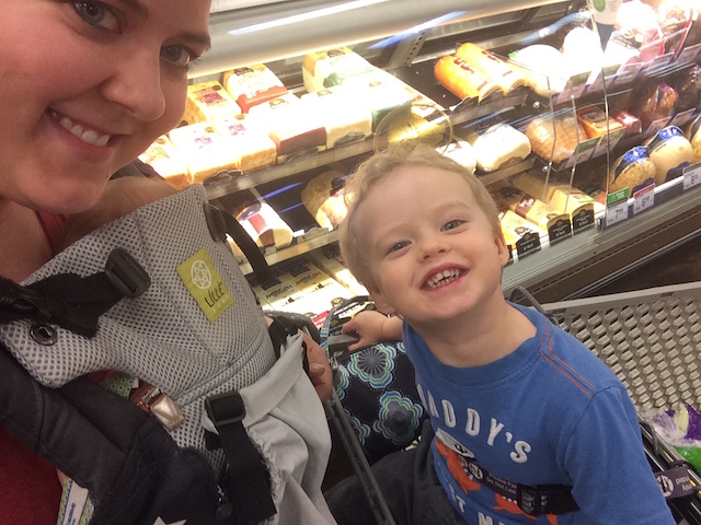 grocery shopping with two
