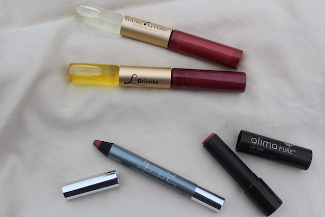 Alima Pure, 100% Pure, and Young Living lip sticks and lip gloss
