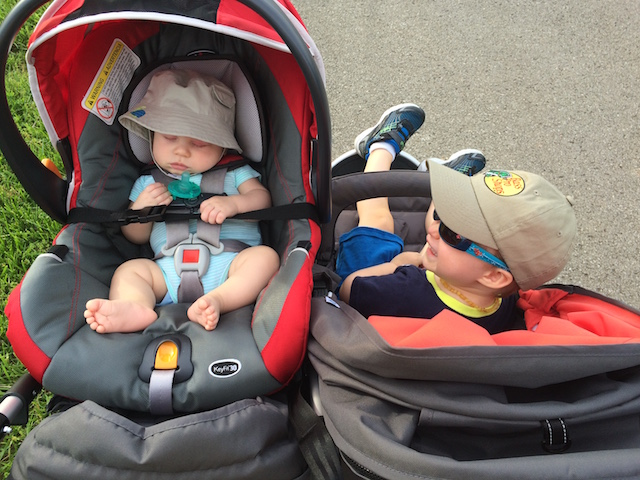 riding in the Bumbleride Indie Twin stroller