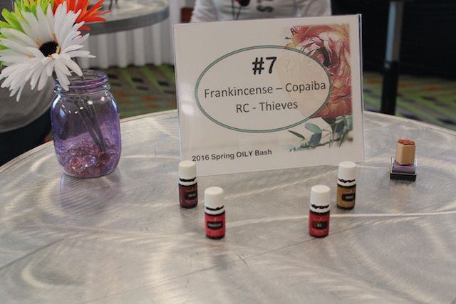 Spring Oily Bash station 7: frankincense, copaiba, RC, and Thieves