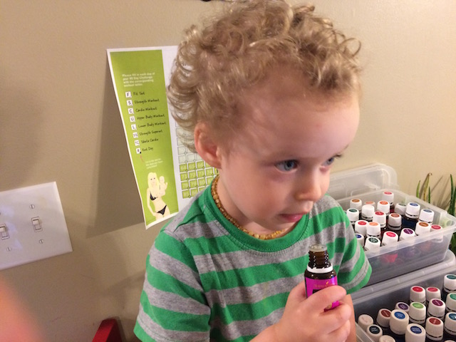 Hudson sniffing my essential oils