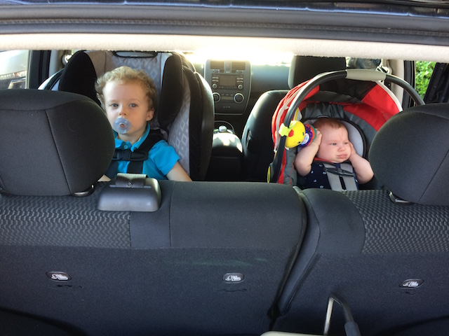 The boys in Daddy's new Nissan Leaf