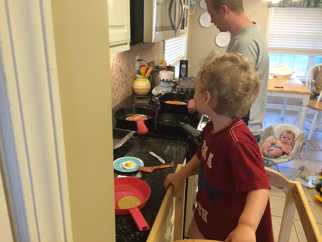 cooking eggs and pancakes with Daddy