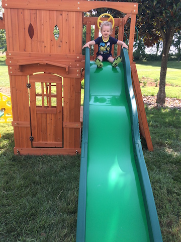 sliding on the new swing set