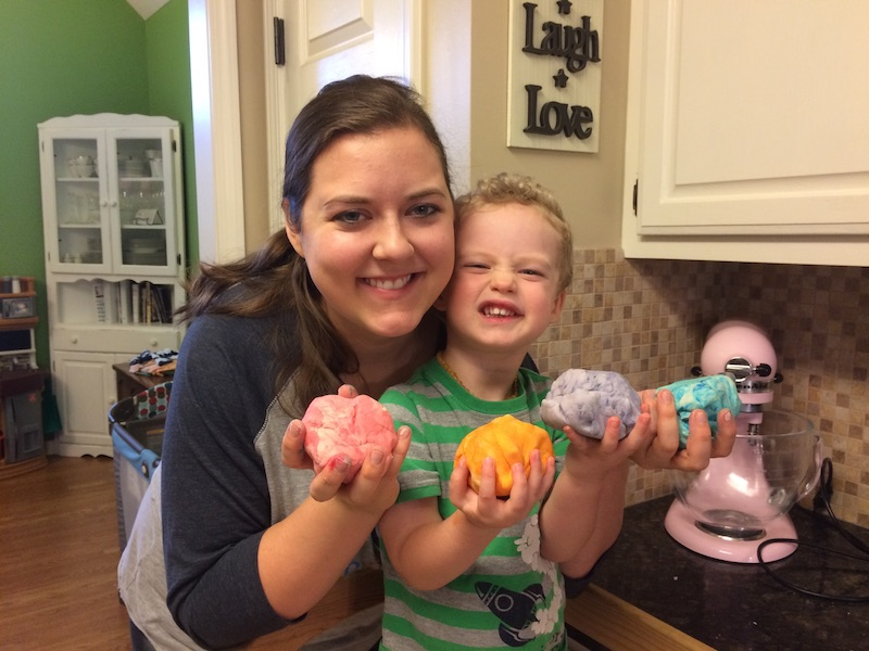 DIY play dough with essential oils