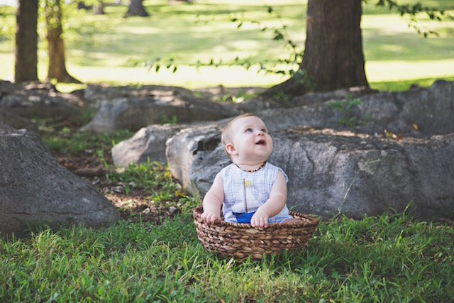 6 month pictures in a basket