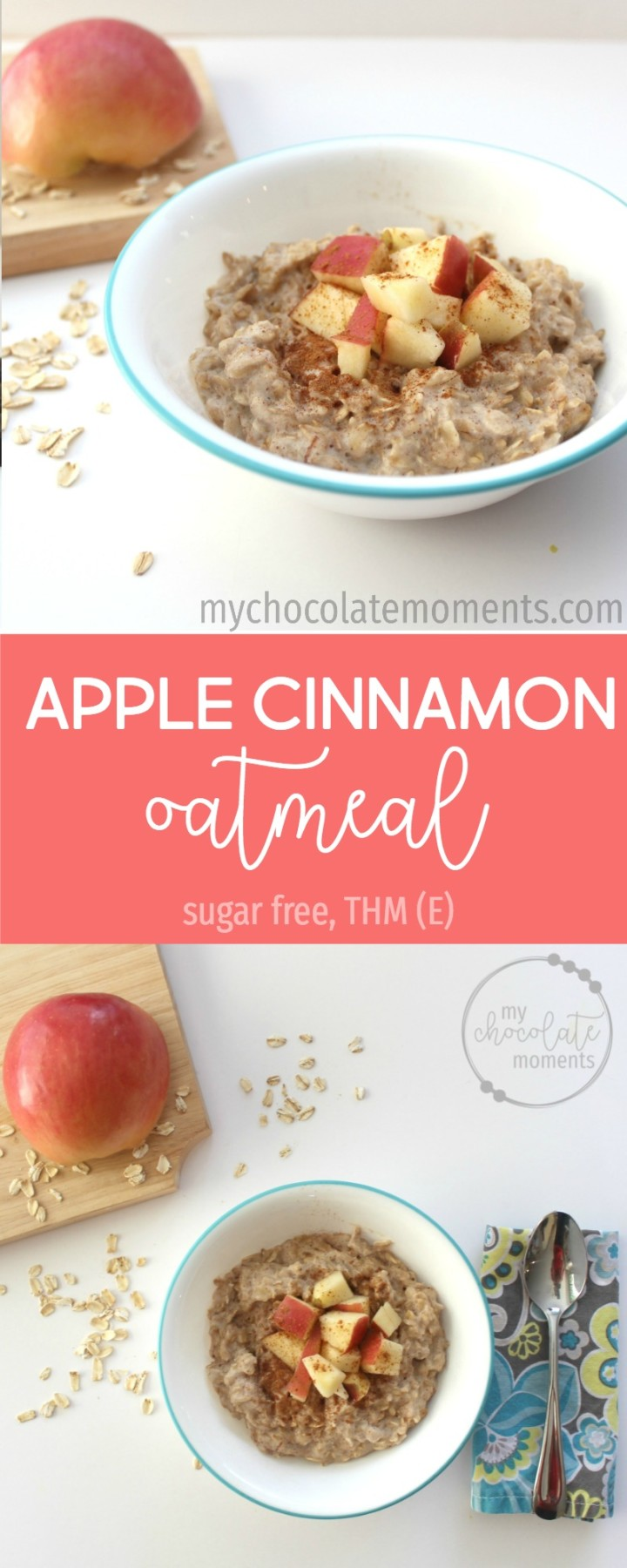 Apple cinnamon oatmeal - an easy, quick, and delicious alternative to instant oatmeal. Trim Healthy Mama E meal