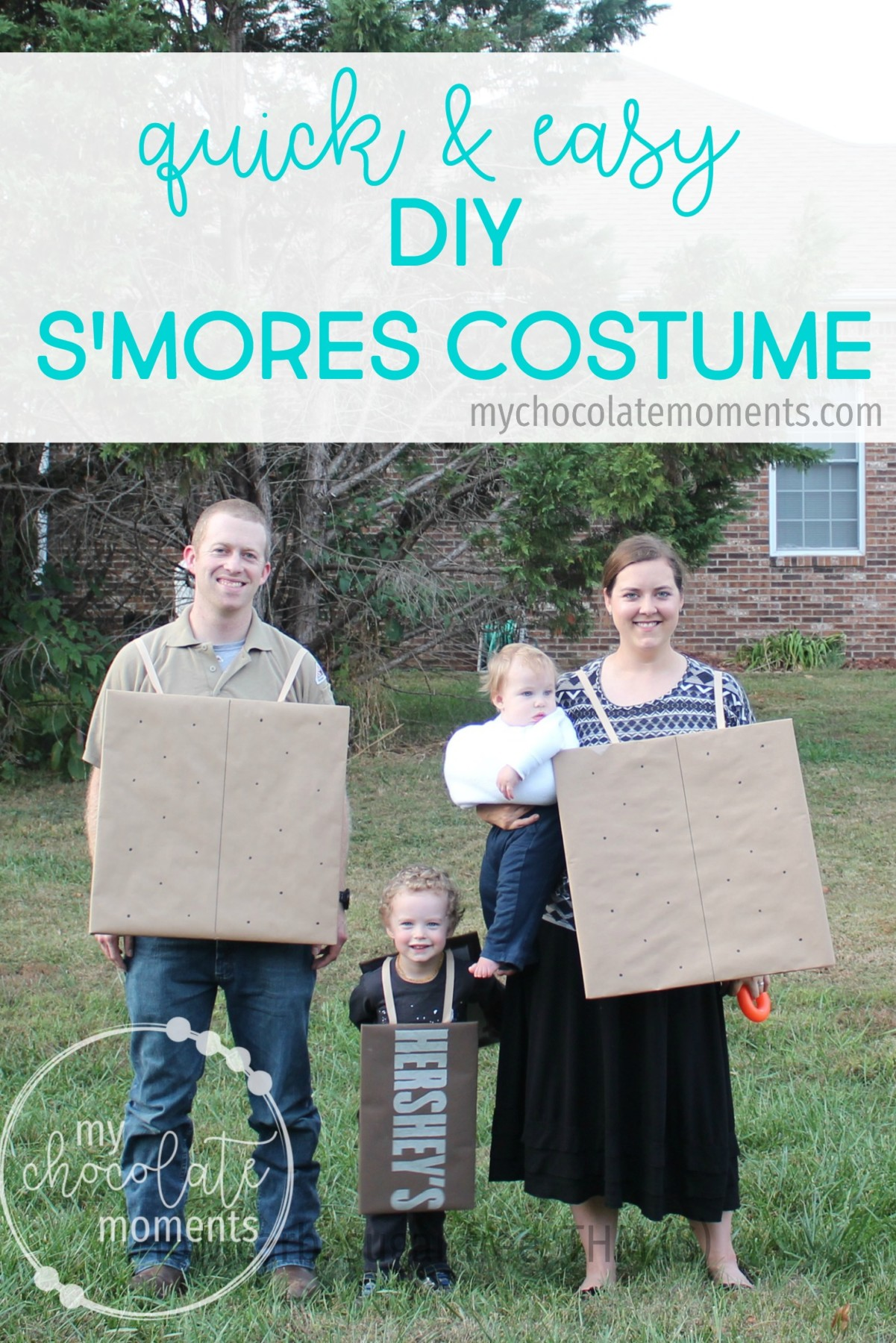 DIY s'mores costume for the whole family - super quick, easy, and inexpensive to make!