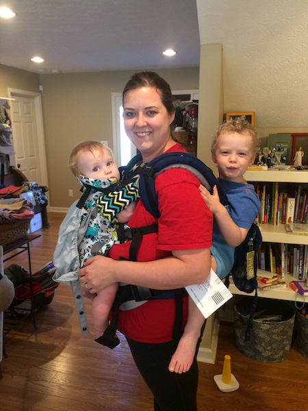 tandem babywearing in a Lillebaby