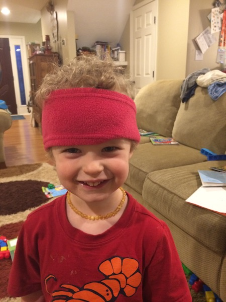 wearing mommy's head band