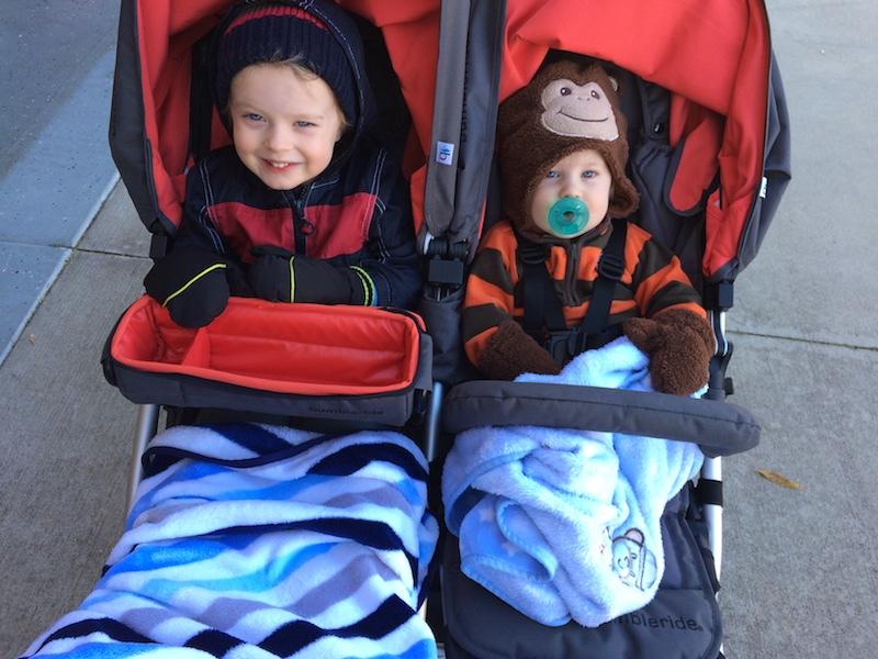 all bundled up for a run in the stroller