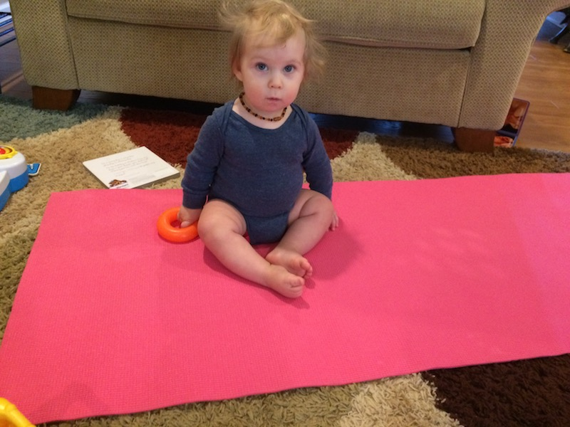 sitting on my yoga mat