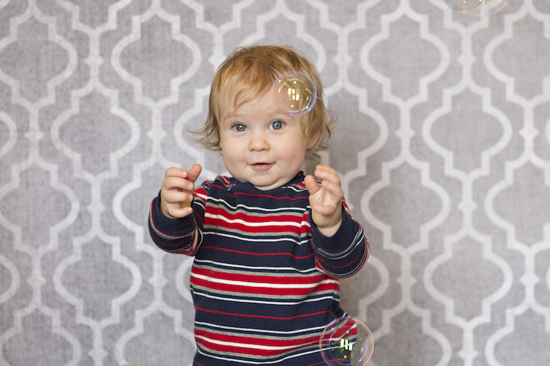 Parker's one year pictures with bubbles