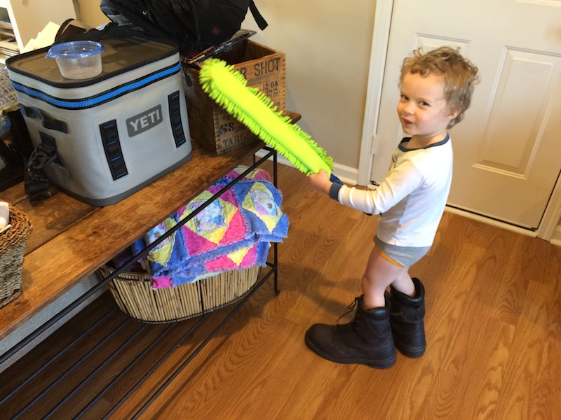 March family update - Hudson cleaning