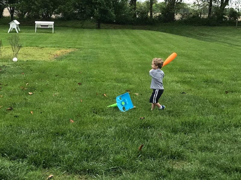 playing t-ball outside