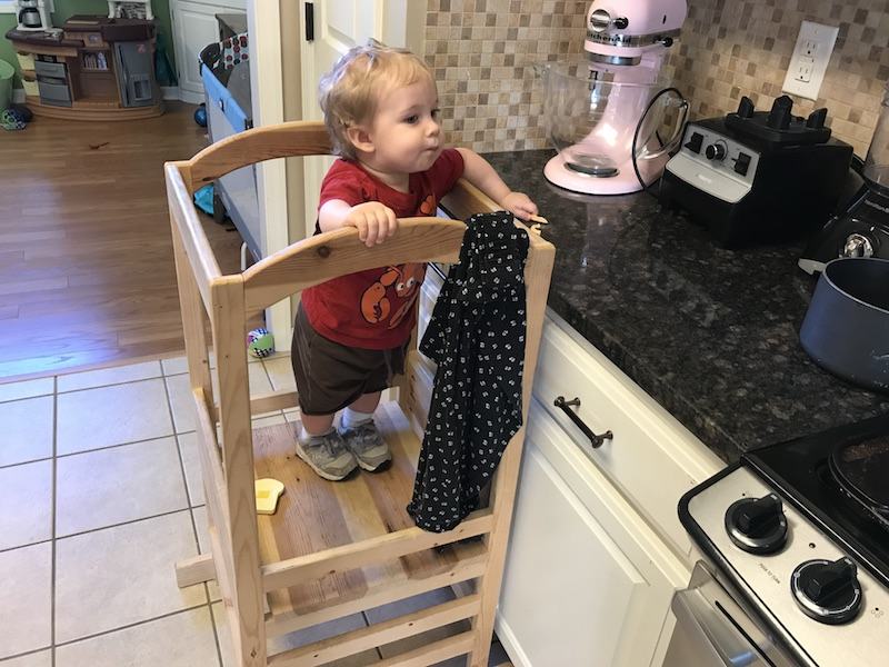 toddler tower in the kitchen