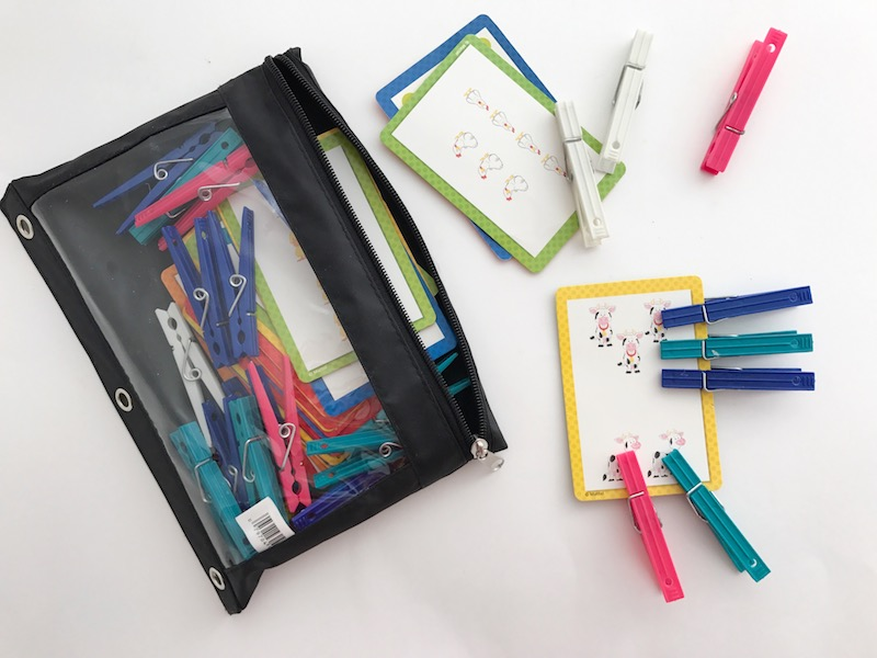busy bags clothespins and flash cards
