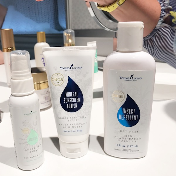new Young Living products - mineral sunscreen, insect repellant, and after sun spray
