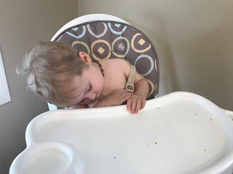 sleeping in the high chair