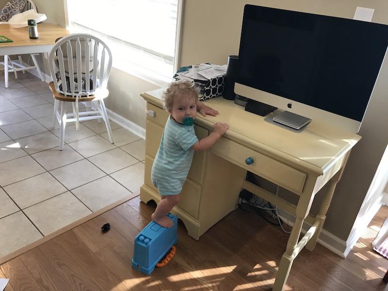 climbing on toys