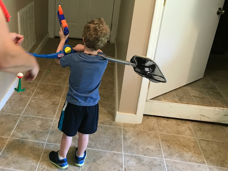 shooting nerf guns at church camp
